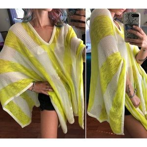 ECHO Open Knit Poncho Coverup Striped